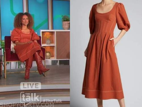 the talk, elaine welteroth, orange midi dress