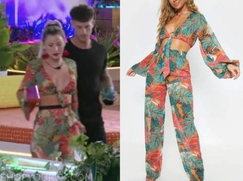 shannon st. claire, love island usa, orange and green tie crop top and pants