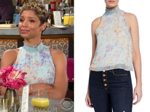 elena dawson, brytni sarpy, the young and the restless, blue floral mock neck top