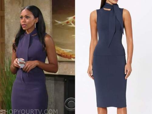 mishael morgan, amanda sinclair, blue tie neck knit dress, the young and the restless