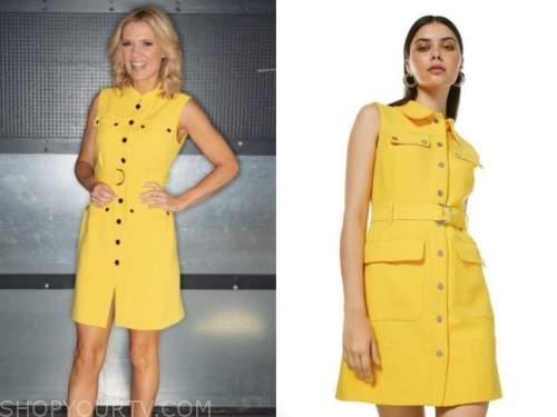 charlotte hawkins, good morning britain, yellow utility dress