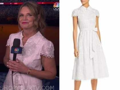 savannah guthrie, the today show, white embroidered midi dress, nbc olympics opening ceremony