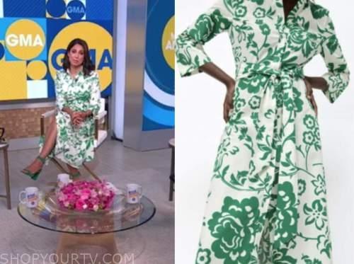 good morning america, green and white floral shirt dress, cecilia vega