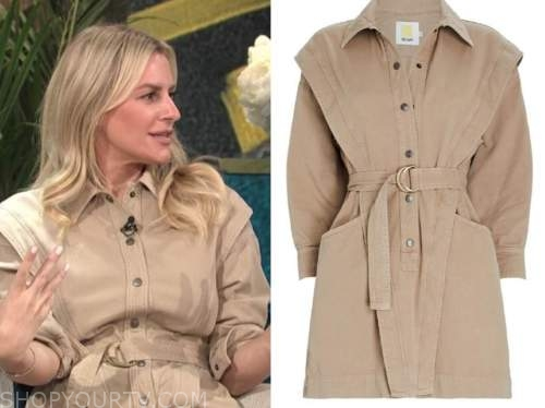 morgan stewart, beige shirt dress, E! news, daily pop