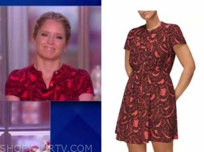 sara haines, the view, red printed dress