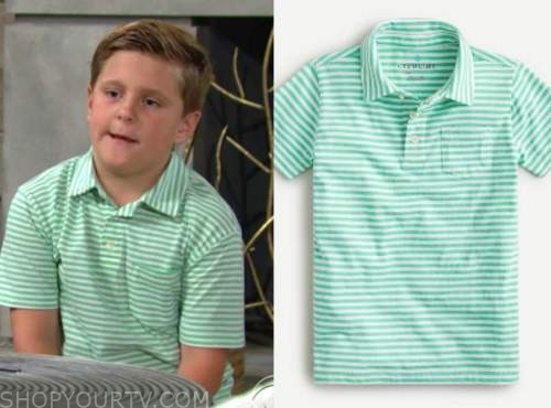 johnny abbott, holden hare, ryan hare, green striped polo shirt, the young and the restless