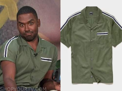 justin sylvester, E! news, daily pop, green striped shirt