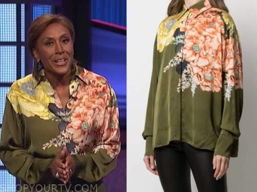 robin roberts, jeopardy, green floral shirt