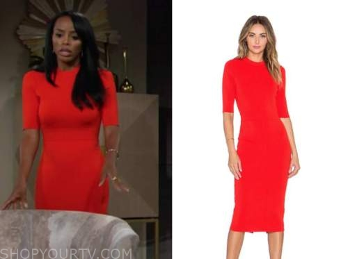 leigh-ann rose, imani benedict, the young and the restless, red dress