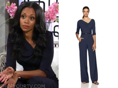 amanda sinclair, mishael morgan, the young and the restless, navy blue belted jumpsuit,