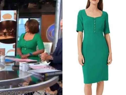 gayle king, cbs this morning, green dress