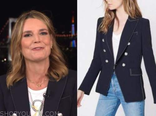 savannah guthrie, the today show, navy stitch double breasted blazer
