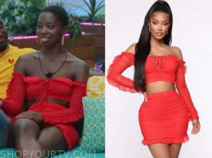 love island usa, red crop top and skirt set, cashay proudfoot
