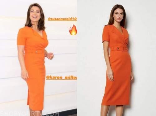 susanna reid, orange pencil dress, good morning britain