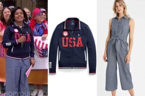 sheinelle jones, the today show, blue olympics team usa jacket, chambray jumpsuit