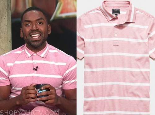 justin sylvester, E! news, daily pop, pink striped polo shirt