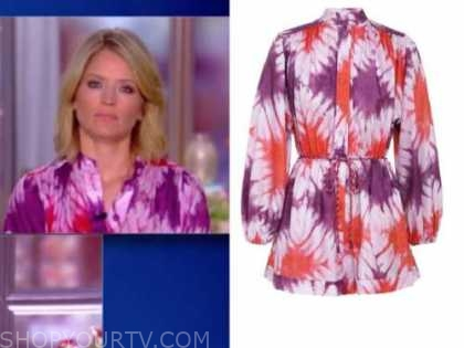 sara haines, the view, purple and red tie dye romper
