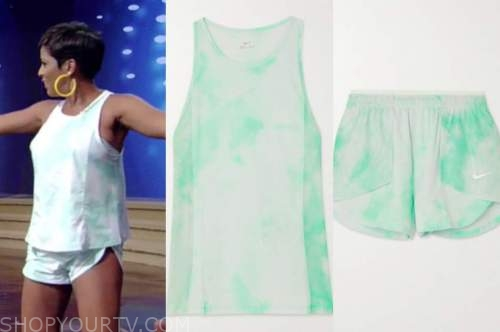 tamron hall, tamron hall show, green tie dye top and green tie dye shorts