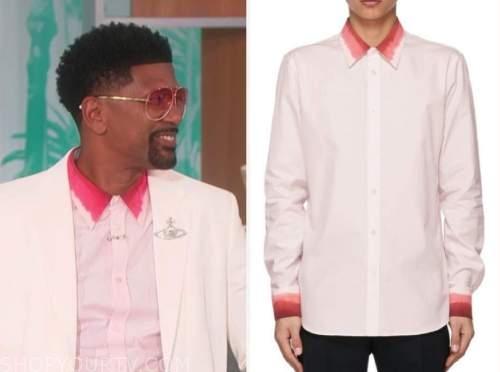 jalen rose, the talk, pink ombre collar shirt