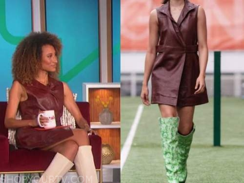 elaine welteroth, the talk, burgundy leather dress