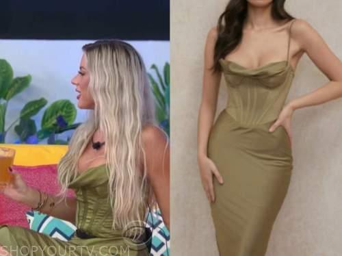 shannon st. clair, love island usa, green corset dress