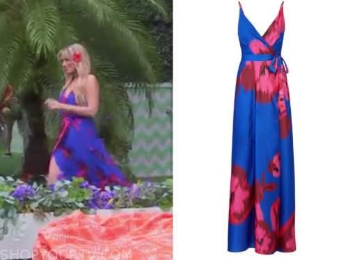 arielle vandenberg, blue and pink floral maxi dress, love island usa