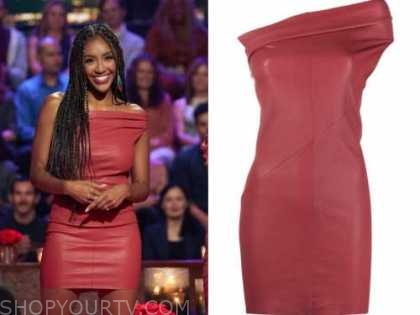 tayshia adams, the bachelorette, red leather dress