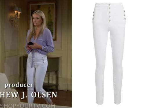 abby newman, melissa ordway, the young and the restless, white button jeans