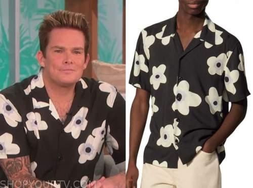 mark mcgrath, the talk, black and white floral shirt