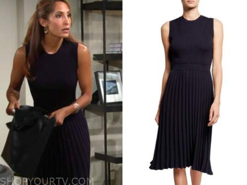 lily winters ashby, christel khalil, the young and the restless, navy blue ribbed pleated dress
