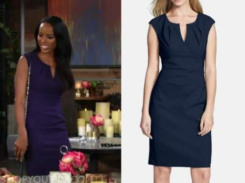 imani benedict, the young and the restless, leigh-ann rose, blue sheath dress