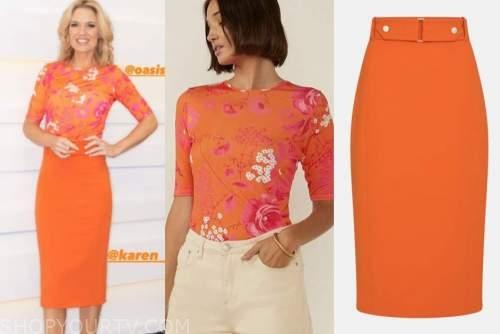 charlotte hawkins, orange floral top, orange skirt, good morning britain