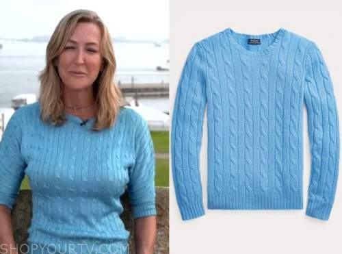 good morning america, lara spencer, blue cable knit sweater