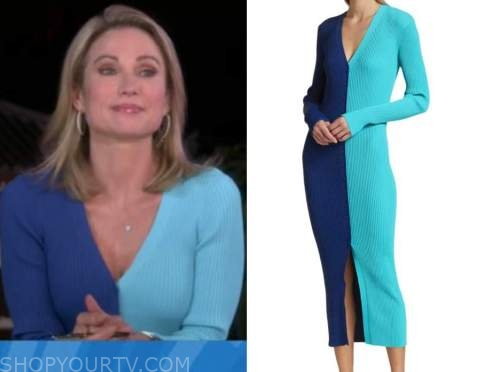 amy robach, good morning america, blue colorblock sweater dress