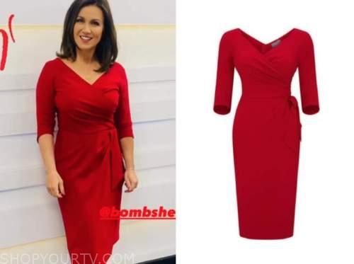 susanna reid, good morning britain, red wrap dress
