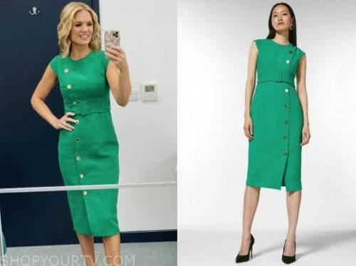 charlotte hawkins, good morning britain, green pencil dress