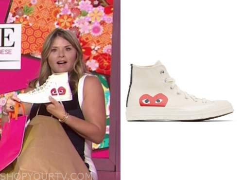 jenna bush hager, the today show, ivory high top heart sneakers