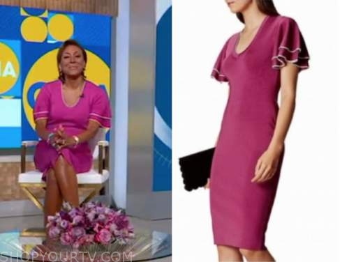 robin roberts, good morning america, purple pink knit ruffle dress