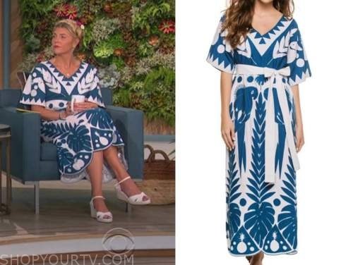 amanda kloots, the talk, blue and white printed dress
