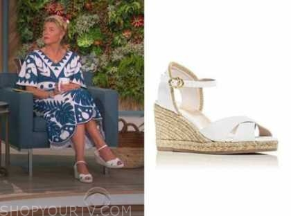 amanda kloots, the talk, white wedge sandals
