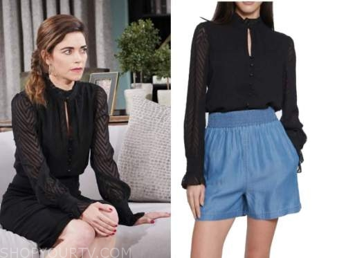 victoria newman, amelia heinle, the young and the restless, black chevron blouse