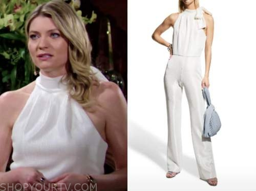 tara locke, the young and the restless, white halter jumpsuit