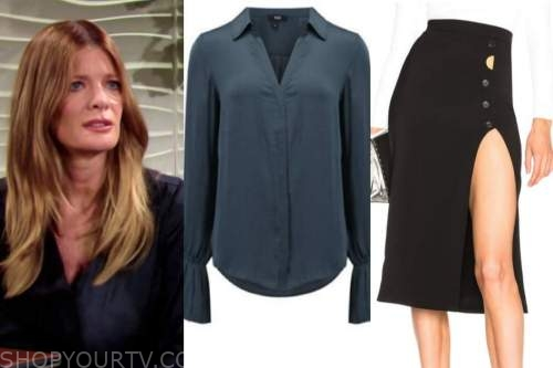 phyllis newman, michelle stafford, the young and the restless, navy blouse, slit skirt