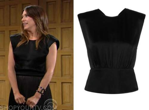 chloe mitchell, elizabeth hendrickson, the young and the restless, black padded shoulder top