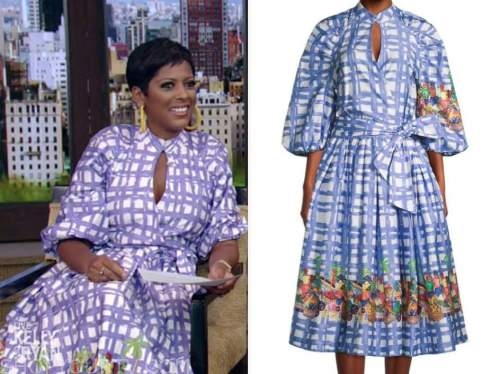tamron hall, live with kelly and ryan, blue grid midi dress