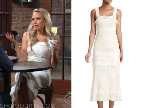 abby newman, melissa ordway, the young and the restless, white pointelle dress
