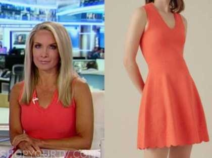 dana perino, orange knit scallop dress, america's newsroom