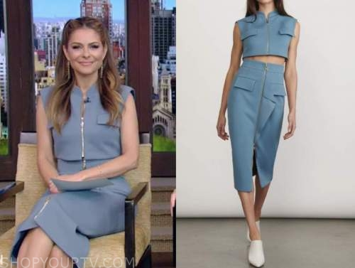 maria menounos, live with kelly and ryan, blue crop top and skirt