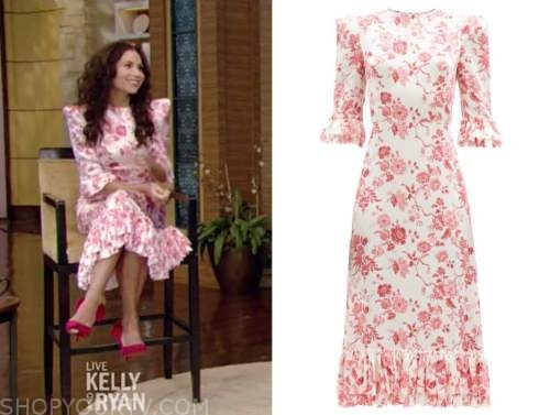 minnie driver, live with kelly and ryan, red and white floral midi dress