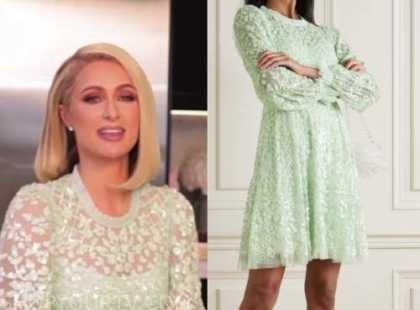paris hilton, green lace dress, e! news, daily pop
